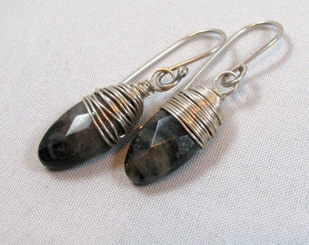 Agate Briolette Earrings - sterling silver, wire wrapped, black, clear, gray, natural, undyed, small, lightweight