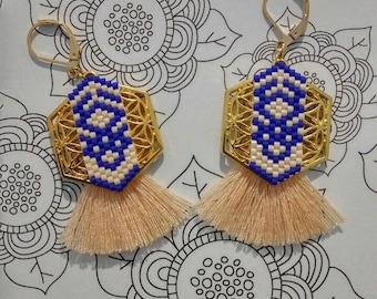 Beads miyuki and Hexagon charm earrings