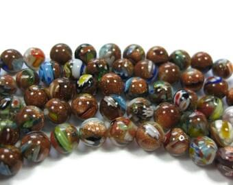 50 or sable Millefiori rondes 8mm perles