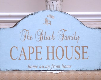 Custom Cape house sign, personalized shabby sign, wooden beach house sign, shore house sign, at the Cape