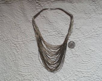 Vintage Sterling Silver 50 Strand Liquid Silver Necklace 22""