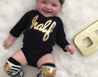 1/2 Birthday gold and black Bodysuit and gold heart Leg Warmers, 6 month birthday, half birthday