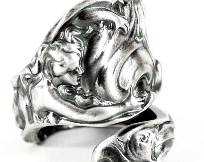 Goddess Ring, Silver Mermaid Ring, Spoon Ring Sterling Silver, Art Nouveau, The Wave, Fish Ring, Beach Ring, Ocean Ring Adjustable Size, 329