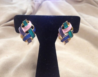Vintage Goldtone and Patel Colored Ribbon Design Earrings, 1 1/4'' Long, 3/4'' Wide