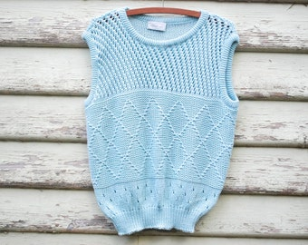 80s Vintage Pastel Blue Vest Top Wool Knitted Tee Singlet Cable Knit Sweater Eighties  Vtg 1980s Size S-L