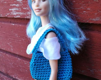Turquoise blue Barbie doll handbag / purse