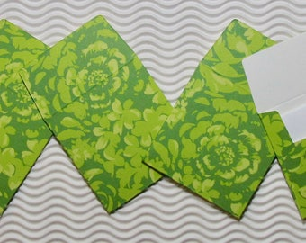 18 teeny tiny envelope note card sets handmade green flower/rose miniature square party favor weddings stationery guest book