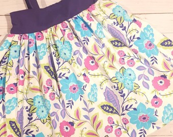 Floral Dress, Tank top dress, girls twirl dress, purple and pink flowers, girls dress, girls floral dress, dress up, flower dress