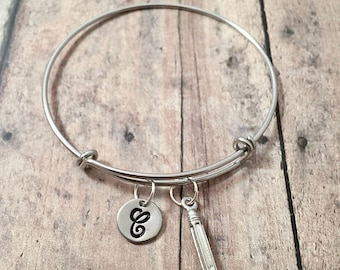 Pencil initial bangle - pencil jewelry, teacher bracelet, writer jewelry, teacher jewelry, silver pencil pendant, gift for writer