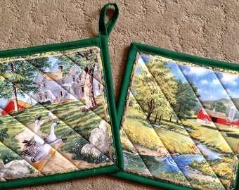 """POTHOLDERS: quilted pot holders  8"""" x 8""""  Set of 2 (1b)"""