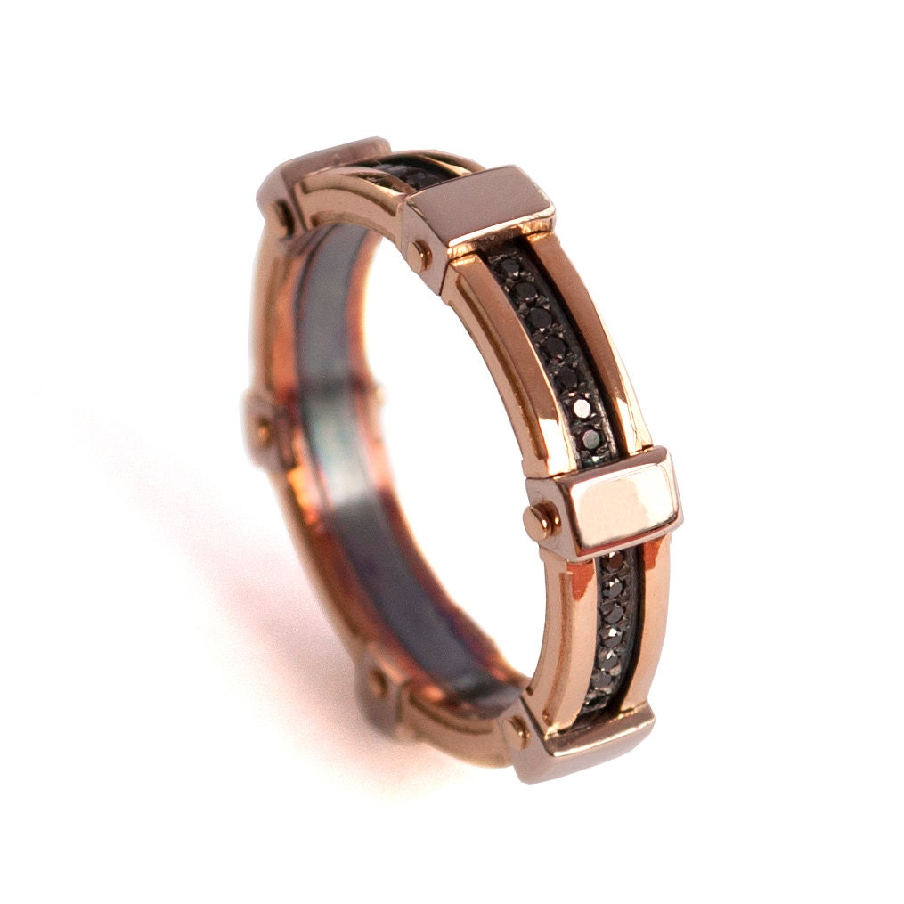 Gold Wedding Band Mens 18K Rose Gold and Black Diamond
