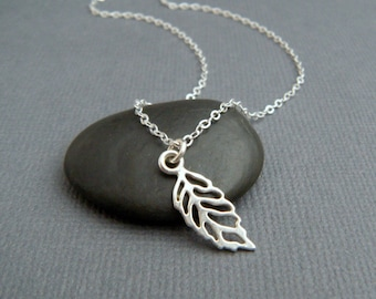 """silver leaf necklace. small filigree necklace. sterling silver. simple nature pendant. tiny single leaf. everyday dainty jewelry gift 3/4"""""""