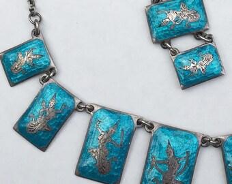 Set Necklace & Bracelet   Silver  Siam Style / Niello and Blue Enamel Design      Siam Dancer Girls  1940's 1950's