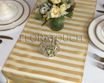 Gold Striped Organza Wedding Table Runner