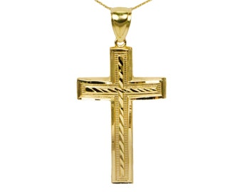 14k Large Yellow Gold Cross Necklace