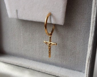 Men's Gold Plated Crucifix Cross Sleeper Hoop Earring.