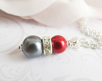 Grey with red pearl necklace, bridesmiad necklaces, bridal party gift, flower girl gift, wedding jewelry