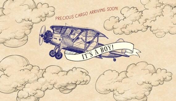 Digital File Of Vintage Airplane Baby Shower Backdrop