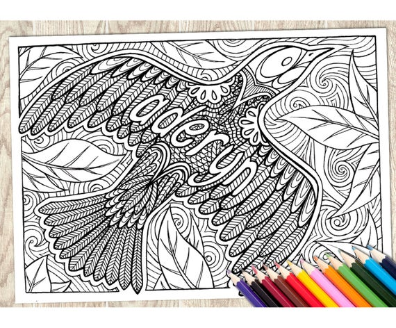 Colouring Page Aderyn Welsh Word Printable Download Adult Coloring Language Wales Art Therapy Calm Relaxing Creative Pattern