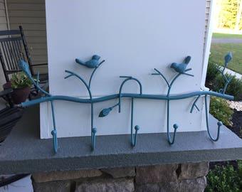 Cast Iron Bird Hook, Wall Décor, Bird Décor, Blue Bird Wall Décor, Home and Garden Décor