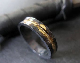Mens Wedding Band Rustic Wedding Band Mens Wedding Ring Oxidized Ring Viking Wedding Ring Rustic Ring Unique Wedding Ring OOAK Ring Artisan