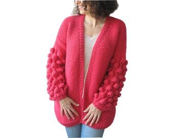 Chunky Knit Cardigan, Knitwear, Knit Sweater, Chunky Knit Sweater, Hand Knitted Bubble Cardigan, Pink