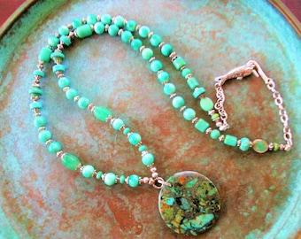Pyrite Turquoise necklace, Chrosoprase necklace, long boho Turquoise necklace, mint green necklace, long Pyrite Turquoise necklace