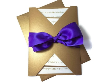 Luxurious Gold and Purple Gatefold Wedding Invitation