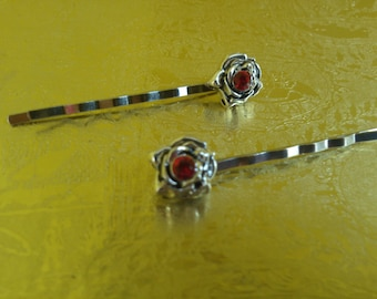 Flower Hair or Bobby pin Set of 2 Red Roses Rhinestone Silver Metal Hair Jewelry Accessories