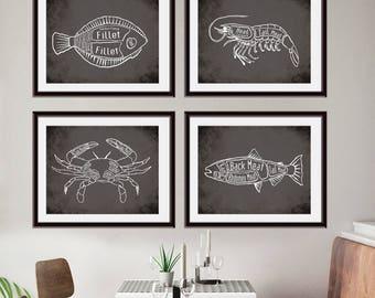 Halibut, Shrimp, Crab, Salmon (Pacific Fish Butcher Diagram Series) Set of 4 Art Prints (Featured in Charcoal)