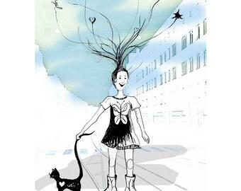 art card  - postcard illustration - art postcard - greetings card - Eco-Friendly Stationery