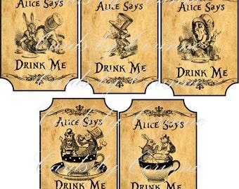 Instant download Alice in Wonderland drink me labels
