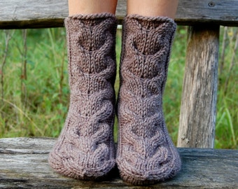Hand Knit Chunky Slipper Socks, Cable Knit Slipper Socks, Knit Booties, Socks for sleep, Wool socks for home, Christmas present