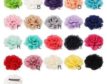 8.5cm Newborn Chiffon Petals Poppy Flower For Baby Hair Clip/Headband Rolled Rose Fabric Flowers For Baby Girls Hair Accessories No Clips