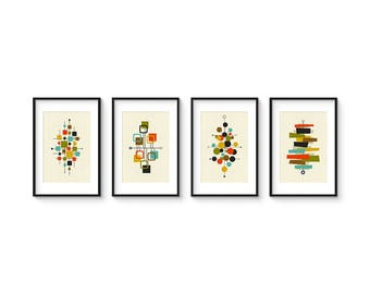 Mid Century Set no.2 - Collection of (4) Giclee Prints - Abstract Mid Century Modern