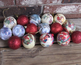 Vintage Decopage and Glitter Christmas Balls