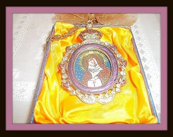 "Virgin Mary Russian Orthodox Ornament Medallion Purple Enamel  & Crystals  3"" X 2"""