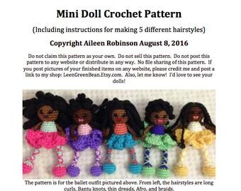 CROCHET PATTERN - Mini African Doll with 5 Hairstyle Options: Braids, Curls, Locks, Dreads, Bantu Knots, Natural Black Hair, Girl, tutorial