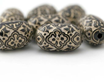 Black White Gold Etched Oval Tube Acrylic Beads Large Carved 27mm (8)