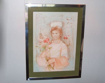 8200: Vintage Edna Hibel Framed Lithograph Print Signed Numbered Pencil Limited Edition Non Glare Glass Fine Art at Vintageway Furniture