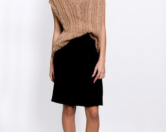 The Vintage Tan Cable Knit Vest Sweater