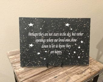 """Perhaps they are not stars in the sky - 6.5"""" x 9.5"""" Laser Engraved Corian Home Decor"""