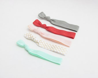 Fabric Hair Ties - Signature Rose Collection - Hair Ties - Set of 5