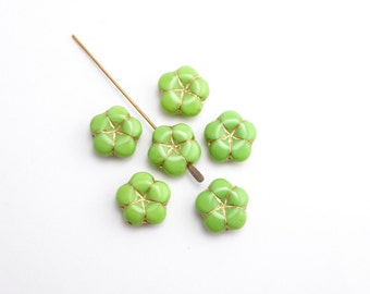 6 x 14mm Apple Green Puffy Flower Czech Glass Beads, Green Flower Beads, Gold Flower Beads, Green Glass Flower Beads FLW0303