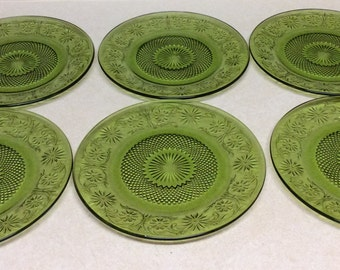 Vintage Indiana Daisy Green Glass Dinner Plates Set For 6