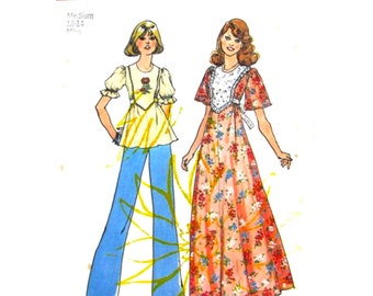 70s Maxi Dress or Smock Top Pattern Simplicity 6931 Puff Sleeve Dress, Tunic Top Tie Ends Bust 34 36 Size Medium Vintage Sewing Pattern