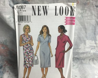New Look 6067, Misses, plus,  Easy to sew, Dress sewing pattern Uncut Plus, Sizes 8-18
