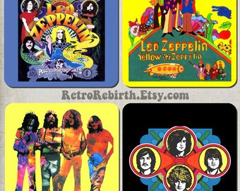 Led Zeppelin Pop Art Drink Coaster Set - Classic Rock Music Gift - Great For Housewarming, Bar & Coffee Table Display - Set Of 4