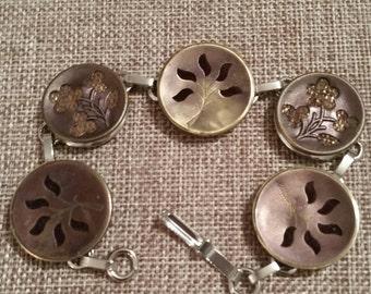 PERFUME  B UTTON BRACELET 1800s velvet flowers Burgendy colors on metal heirloom buttons