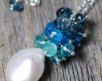 Large Coin Pearl Necklace, Apatite, London Blue Topaz, Freeform Pearl Ombre Cluster Gemstones, Sterling Silver, Wire Wrapped